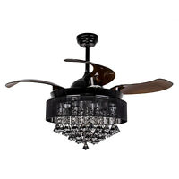 "46"" Crystal Ceiling Fan w/ Remote Control Retractable Modern Chandelier Lighting"