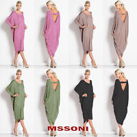 Ladies Backless baggy longsleeve Party Cocktail Clubwear Midi Dress Plus Size