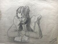Cathrine?? Portrait Woman at the Read from 1897 - Danish Malerin?