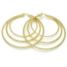 Womens Large Real 14k Gold Plated Round Hoop Earrings(2mmx60mm) Fancy