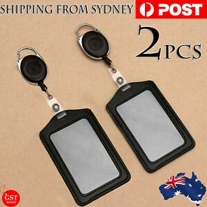 2 Sets Retractable Lanyard ID Badge Opal Card Holder Business Security Pass AU