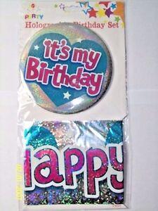 Happy Birthday  Badge & banner Set holographic large  birthday 2 piece silver