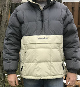 Mens Timberland Half Zip Hooded Puffer Coat Jacket Chest Pocket Gray/Cream Large