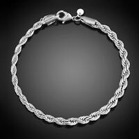 PT_ DONNA Argento Sterling con Gancetto a Girello Bangle Polso Braccialetto Ci