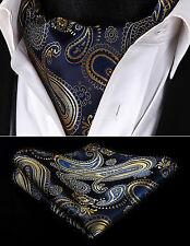 RP921VS Navy Blue Gold Paisley Men Silk Cravat Ascot Tie Handkerchief Set