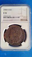 1904 S Morgan Silver Dollar NGC F 15  Very Rare