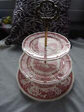 VINTAGE VILLEROY & BOCH BURGENLAND MAROON 3 TIER CAKE STAND / PLATE in great con
