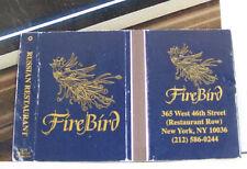 Rare Vintage Matchbook Cover B2 New York City Firebird Peacock Russian Restaur