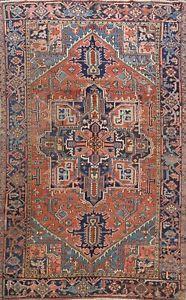 Antique Vegetable Dye Geometric Heriz Serapi Area Rug Hand-made Rust/Blue 7'x10'
