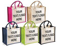 Personalised Shopping Bag Custom Printed Midi Jute Tote Bag Canvas Beach Holiday