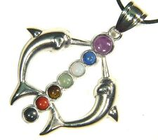 Butw Pewter 2 Dolphins 7 Chakra Gemstone Accents Pendant Necklace 8701E