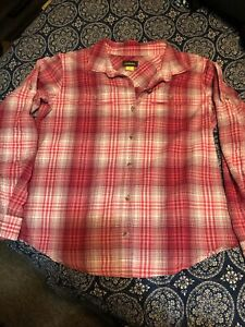 Cabela's long sleeve Pink plaid button front shirt size Small petite