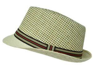 Summer Straw Fedora Hat Trilby Cuban Sun Cap Striped Panama Short Brim Floral