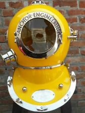 Antique Anchor Eng. Yellow Full size Divers Diving Helmet Scuba US Navy Mark V