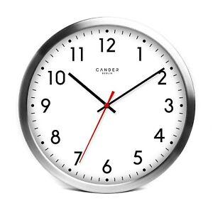 Cander Berlin MNU 2030 Aluminium Wanduhr weiß mit lautlosem Uhrwerk 30,5cm