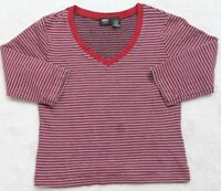 Mossimo Stretch Tee T-Shirt 3/4 Sleeve V-Neck Cotton Spandex Small Red Black Top
