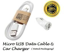 New USB Car Charger plug & Micro USB Data Cable fits Samsung Galaxy S4 S3 S2 HTC