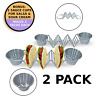 Stand Up Taco Holder- Stainless Steel Rack for Tacos or Tortillas - 2 Sauce Cups