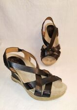 EARTHIES Salerno Black Leather Strappy Wedge Sandals 8.5 B