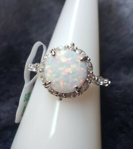 ❤ Ring Bomb Party RBP3002 White Fire Opal Size 8 ❤