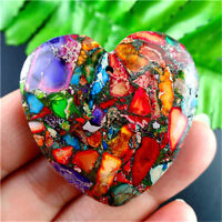 Wholesale Rainbow Sea Sediment Jasper & Pyrite Heart Pendant Bead H-DHS10