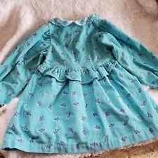 Vintage Usa Oshkosh Blue Floral Corduroy Dress size 3T Long Sleeve