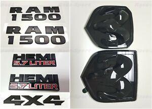 7PCS Black Dodge RAM 1500 + 4X4 + HEMI + Front + Rear Emblem LETTERS NAMEPLATE