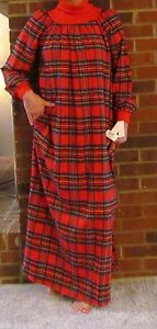 """Nightgown Long Popover"""" Flannel Plaids S-3XL   and Petites """"Made in the USA"""""""