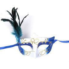 "Women's Girl's Deluxe Masquerade Mask w/ Glitter & Feather ""Federica"" - Blue"