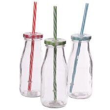 VINTAGE IN VETRO BOTTIGLIA di latte con paglia tre assortiti vintage bottiglie di vetro