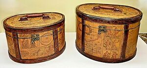SET OF 2 WOOD DECOUPAGE ANTIQUE MAP DESIGN MINI SUITCASE BOXES FOR STORAGE/DECOR