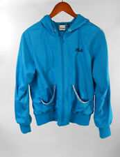 Fila Sport Jacket M Turquoise Blue Hoodie Full Zip Womens Windbreaker Sz Medium