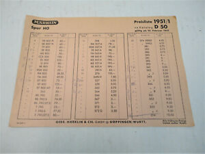 Marklin Ho 1951 price list in DM  fairly nice FREE SHIPPING!