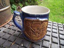 Vtg Souvenir Hand Crafted Blue Glazed Pottery Mug with Dorset West Bay Crest