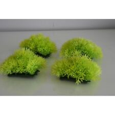 Aquarium 4 x Light Green Cover Plastic Plants with Weighted Base 9 x 8 x 5 cms