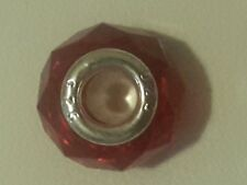 Charm perle rouge style Murano en argent 925