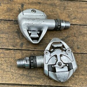 Vintage Clipless Pedals CRMO Cr-Mo MTB 90s Mountain Bike Silver