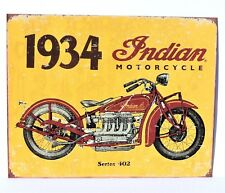 Indian Motorcycle Sign 1934 Model 402 Metal Collectible New 12 1/2x16inch