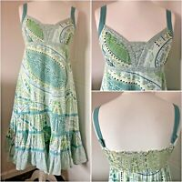 Fat Face Green Indian Cotton Strappy Summer Sundress Lined Shirred Back Size 12