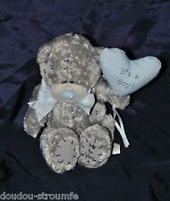 Peluche Doudou Ours Gris CARTE BLANCHE Me To You Coeur Bleu 14 Cm Assis NEUF