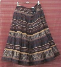 LIZ JORDAN NWT Size 12 Brown Embroidered Boho Skirt, Back Zipper