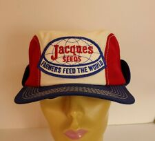 Vintage JACQUES SEEDS Fitted 7 1/8 Hat Cap  with ear-flap Patch K-Brand USA
