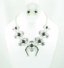Squash Blossom Black And Silver Necklace Set