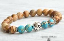 7.5inches men cuff Buddhism Sutra 8mm imperial jasper Picture stone Bracelets