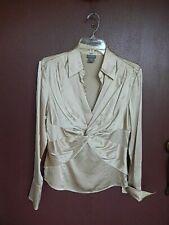 Ann Taylor Long Sleeve Silk Blend Womens Blouse Shirt Top Size 8 Camel Beige
