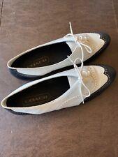 Vintage Bass Shoes Oxfords 80's Saddle White Black 10 Alpine Flex 3464