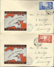 GB / CHANNEL ISLANDS KGV1 1948 LIBERATION ANNIV FDC PAIR USED