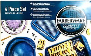 Farberware Colorvive Bakeware Dark Blue 4 Pc Set PFOA Free Nonstick Inside & Out