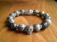 Silver Skull Stone Crystal Bracelet For Men Luxury Jewellery Christmas Gift UK