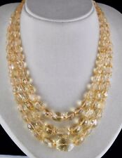 3 LINE 731 CTS NATURAL YELLOW CITRINE BEADS FACETTED OVAL GEMSTONE NECKLACE